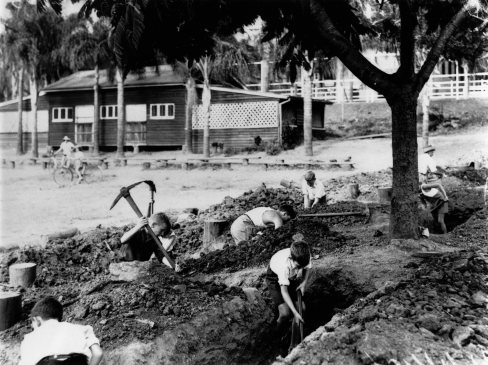 Schoolboys digging a trench at Ascot State School in 1942