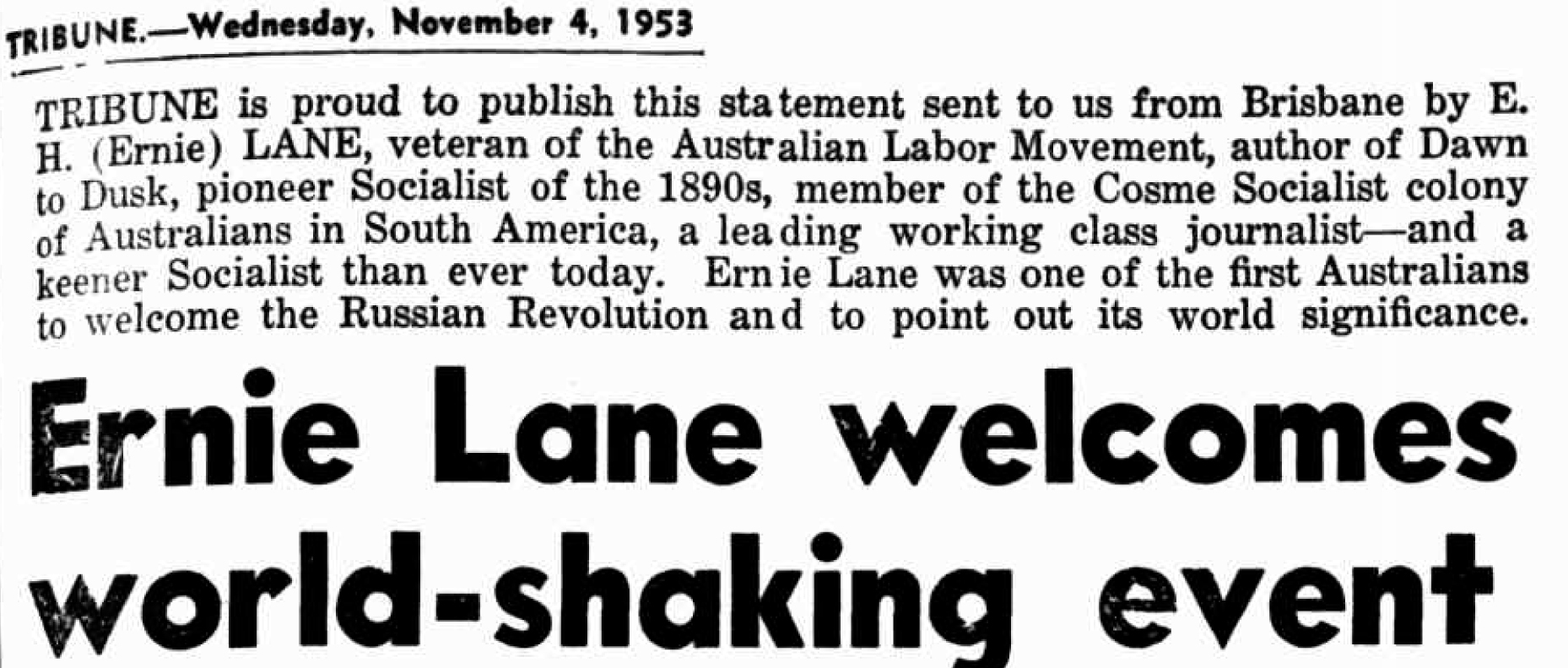 ernie lane tribune nov 4 1953