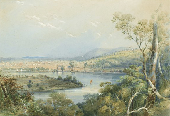 Kangaroo Point, Conrad Martens 1853 NLA