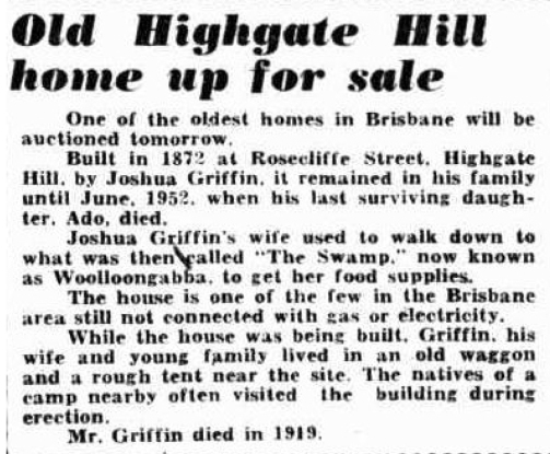 Highgate Hill house no electricty 1953