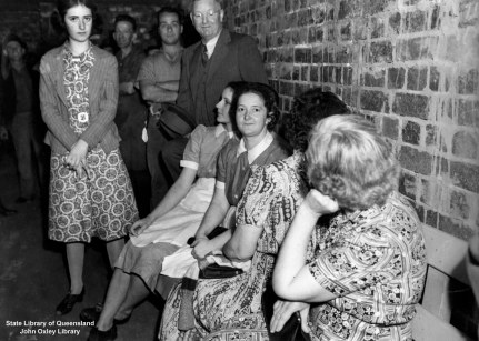 Women in an air raid shelter in Brisbane 1942