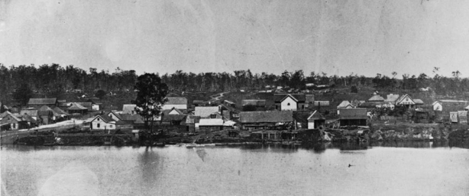 Stretch of the Brisbane River from Hockings Wharf towards South Brisbane ca 1868