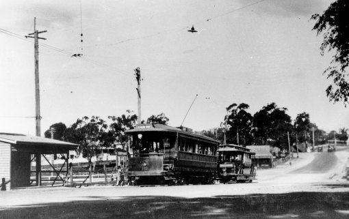 Tram terminus at Dutton Park Brisbane circa 1929