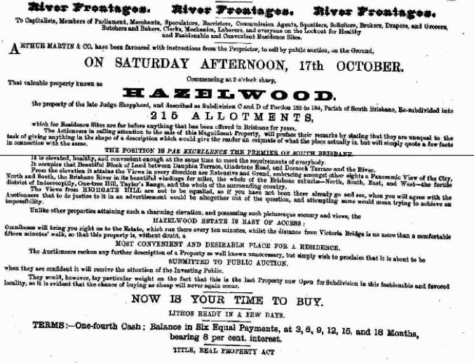 Hazelwood Estate brisbane Highgate Hill 1885
