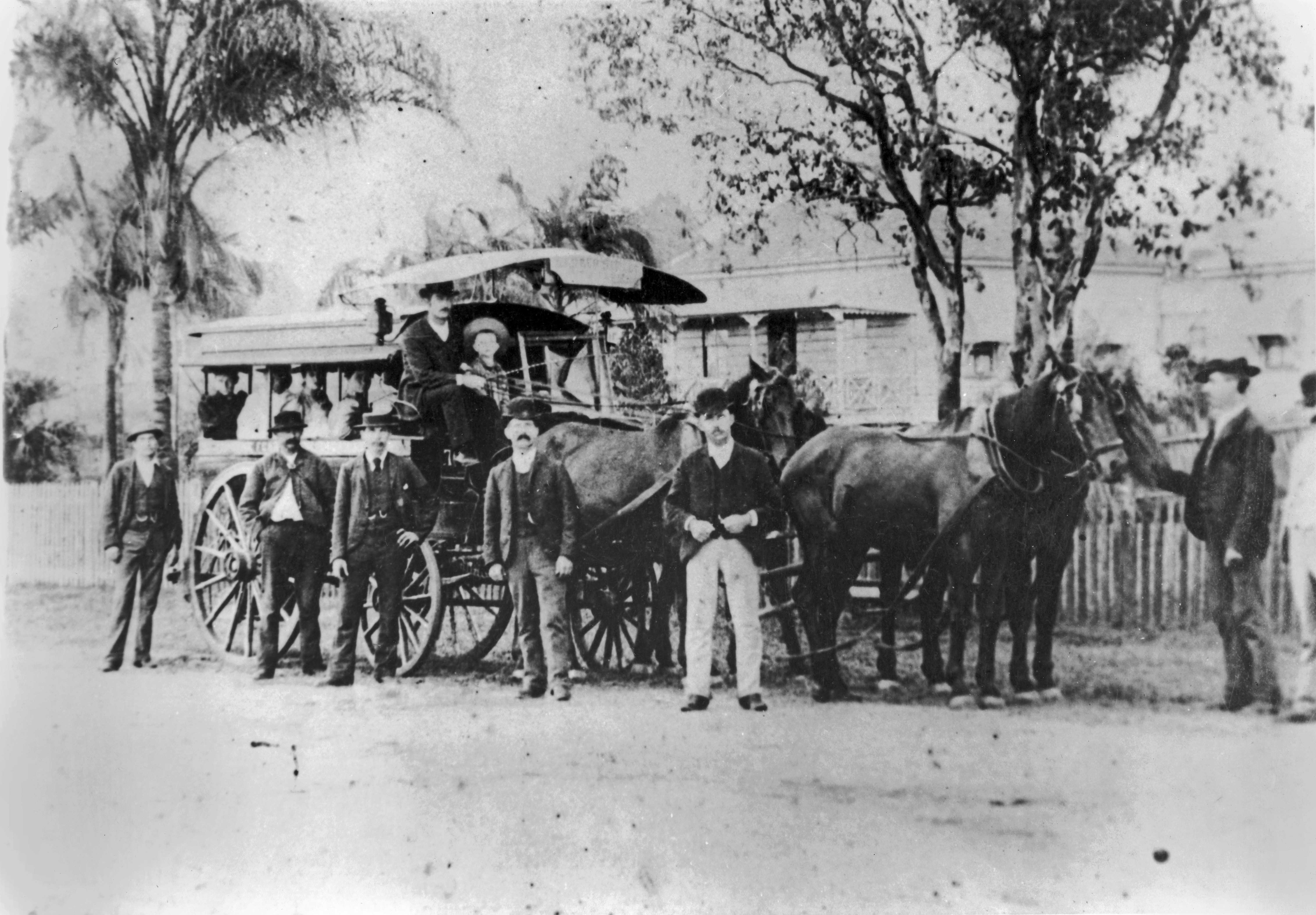 Horse bus owned by John Clark awaiting departure Brisbane 1890s dutton park