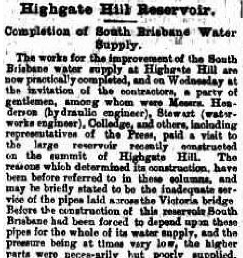 Highgate Hill reservoir 1899