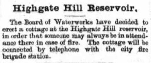 Highgate Hill reservoir cottage fire brigade