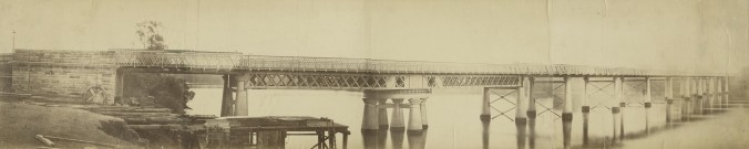 Panorama of the first permanent Victoria Bridge Brisbane ca. 1874