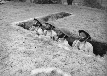 Cadets in a trench in Brisbane Queensland during World War Two