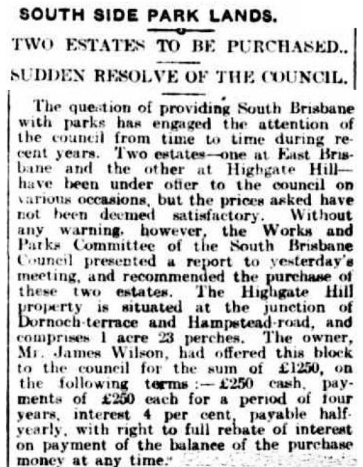 South Brisbane Council buys highagte hill park 1903
