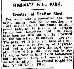 Highagte Hill Park shelter 1911