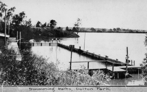 Swimming enclosure on the river at Dutton Park 1921