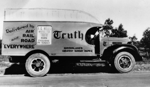 Sundat Truth Newspapers delivery truck 1940