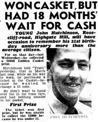 Casket winner waits til 21 years old 1953