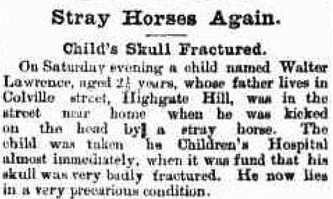 Child killed by horse Colville Street Highgate Hill