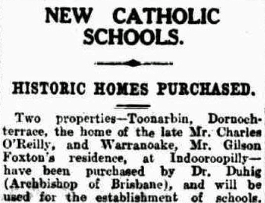 Toonarbin sold 24/3/1926 Brisbane Courier