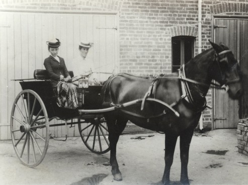Two friends seated in a horsedrawn buggy small 1900