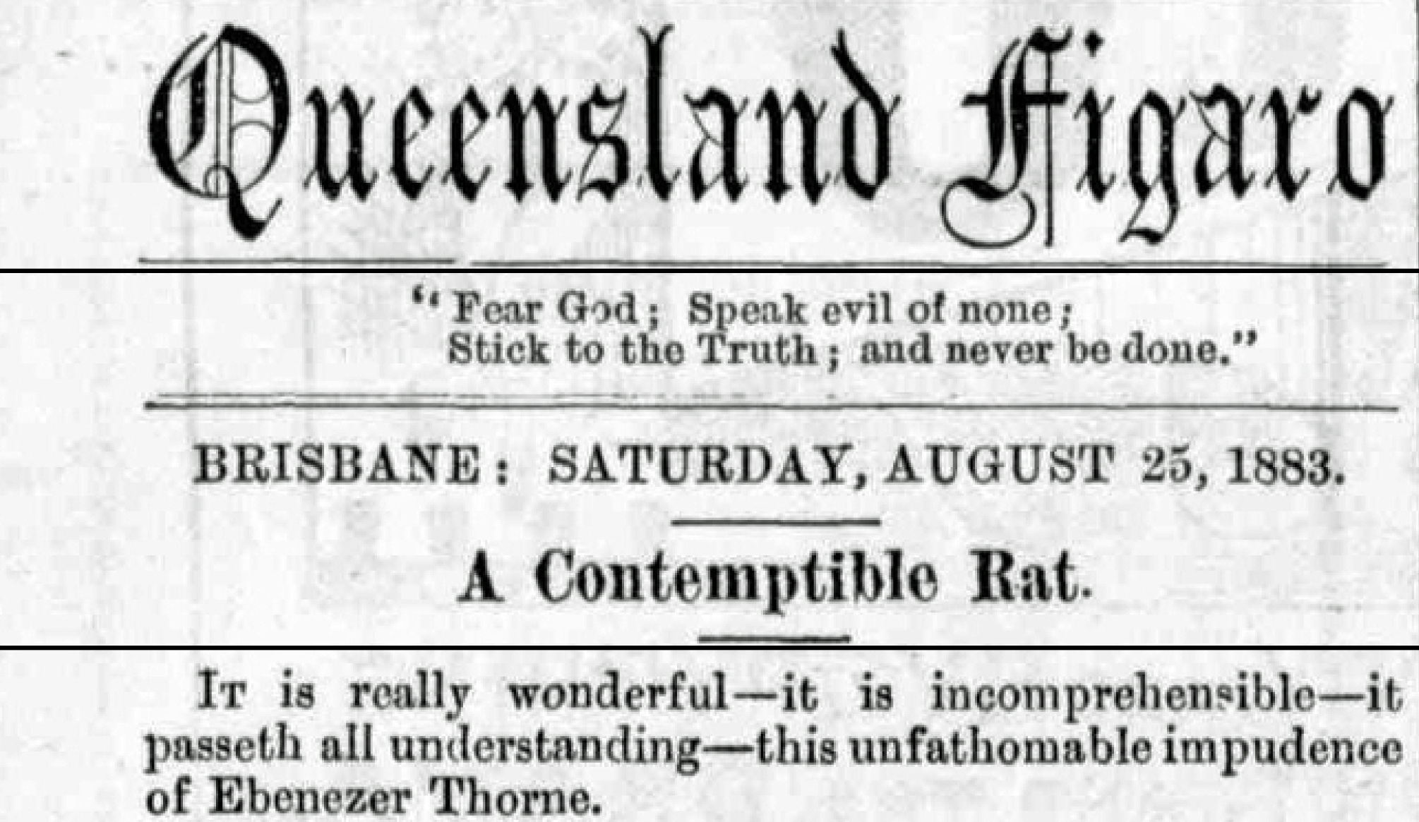 Ebenezer Thorne contempible rat Figaro Saturday 25 August 1893