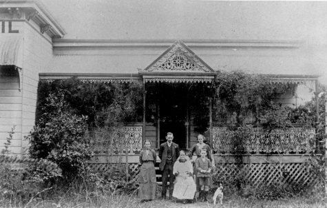 Walker family in front of the Belmont Shire Hall Carina Brisbane ca.1900