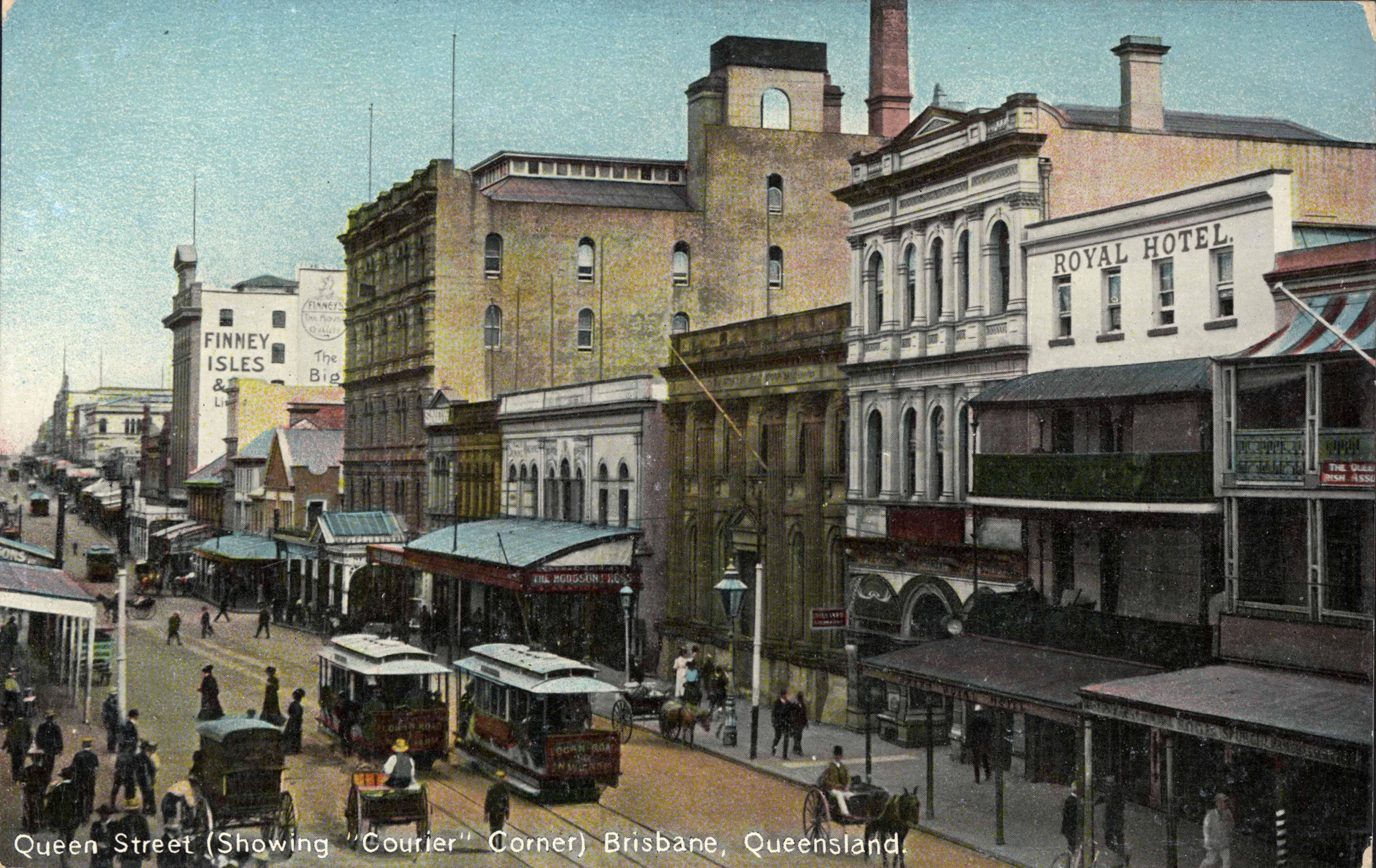 Queen Street Brisbane showing the Courier Corner ca 1910