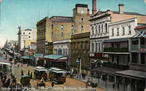 Queen Street Brisbane showing the Courier Corner ca 1910