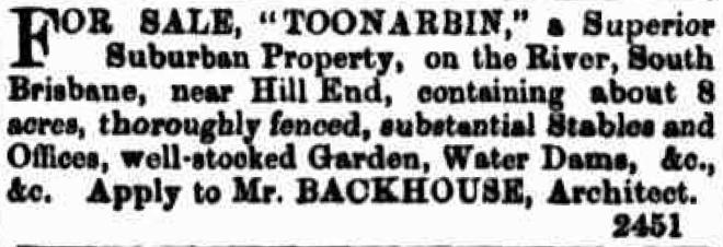 Toonarbin Brisbane land sale 1868
