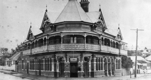 Burkes Hotel, later known as the Red Brick, circa 1929