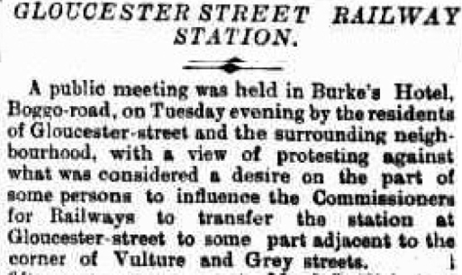 Gloucester street Railway station 1891