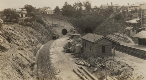 Gloucester Street Station at Highgate Hill in Brisbane Queensland ca[1]. 1930