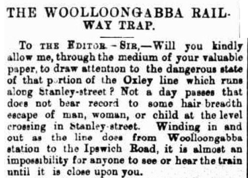Woolloongabba railway problems 1884