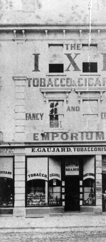 Emile Gaujard's tobacconist shop in Queen Street ca 1873 (State Library of Queensland)