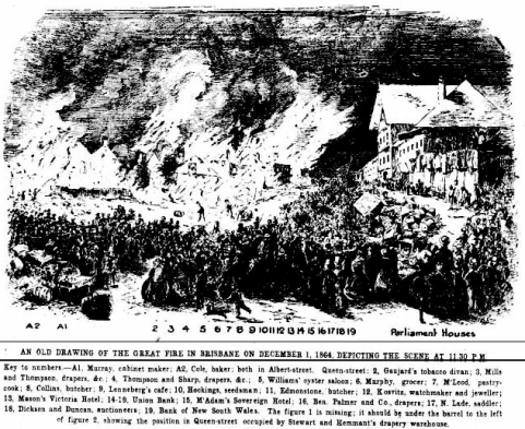 Brisbane great fire 1864 drawing