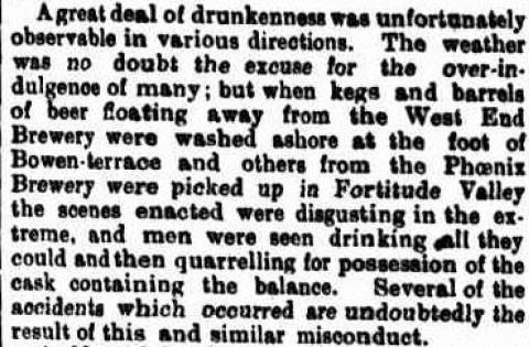 west end brewery brisbane 1893 floods drunkenness