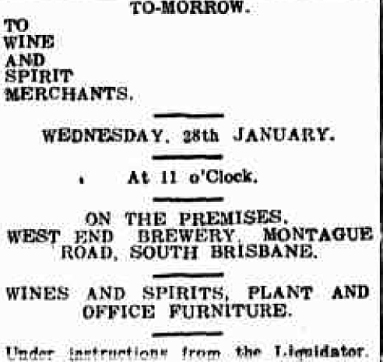 west end brewery liquidation sale 1914