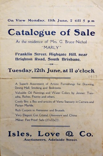 """Marly"" contents auction, 1917. (State Library of Queensland)"