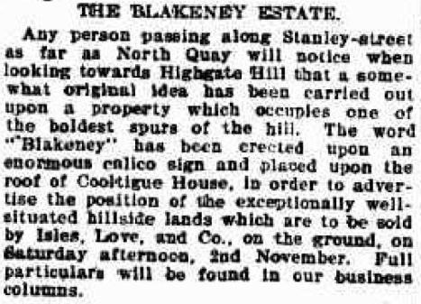 Blakeney estate advertising 1901