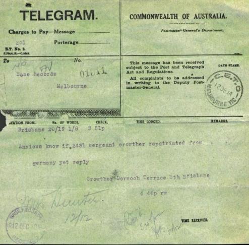 anzac telegram crowther pow