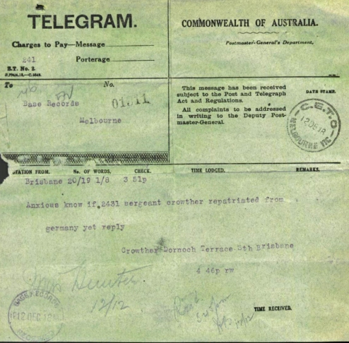anzac telegram crowther pow
