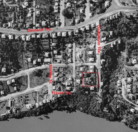 aerial photo dauphin terrace 1936 annotated