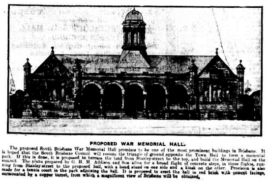 brisbane courier november 1920 memorial hall