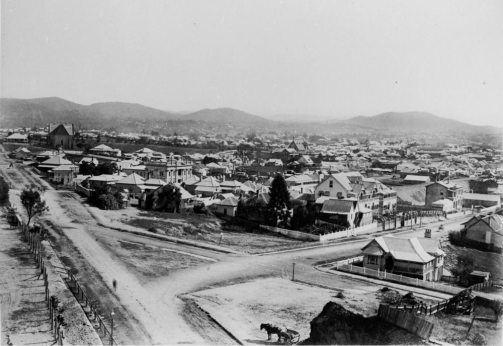 View of South Brisbane ca 1888 gibralter cliff