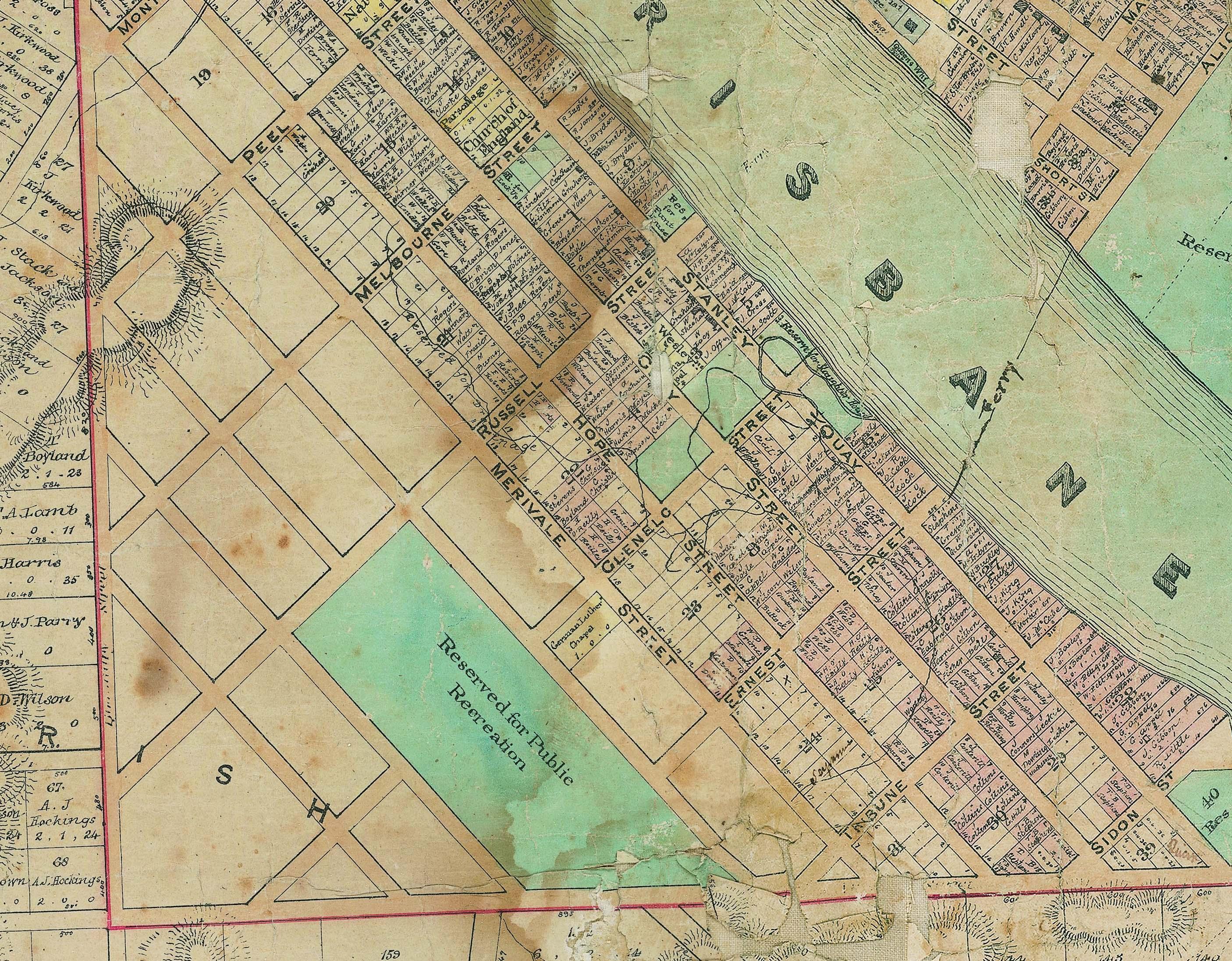 brisbane map 1858 recreation reserve