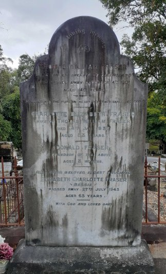Fraser gravestone, South Brisbane Cemetery.