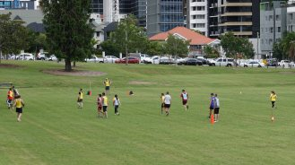 friends palying soccor musgrave park