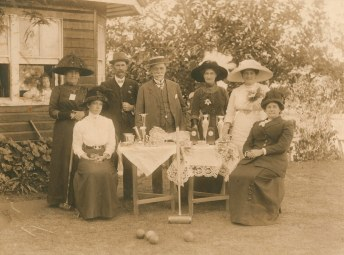 Prize winners at the Queensland Croquet Tournament held in Musgrave Park in 1911. Josephine Papi is seated at the far right. (State Library of Queensland)