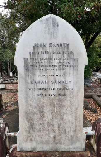 John and Sarah Sankey gravestone, South Brisbane Cemetery.