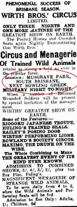 wirths circus musgrave park 1917
