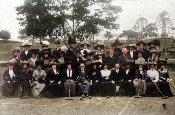 blog Group photograph of Queensland croquet players Musgrave Park South Brisbane 1911-Colorized (1)