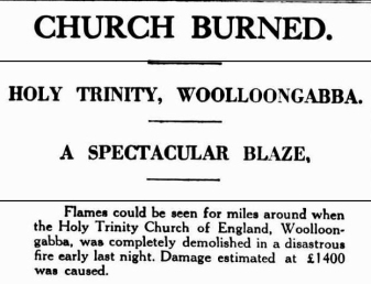 Brisbane Courier 12 Dec 1929 holy trinity fire