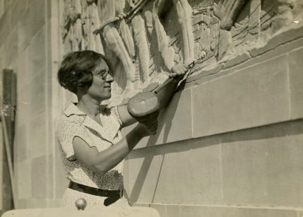 Daphne Mayo working on the Women's War Memorial in 1932. (Fryer Library, University of Queensland)